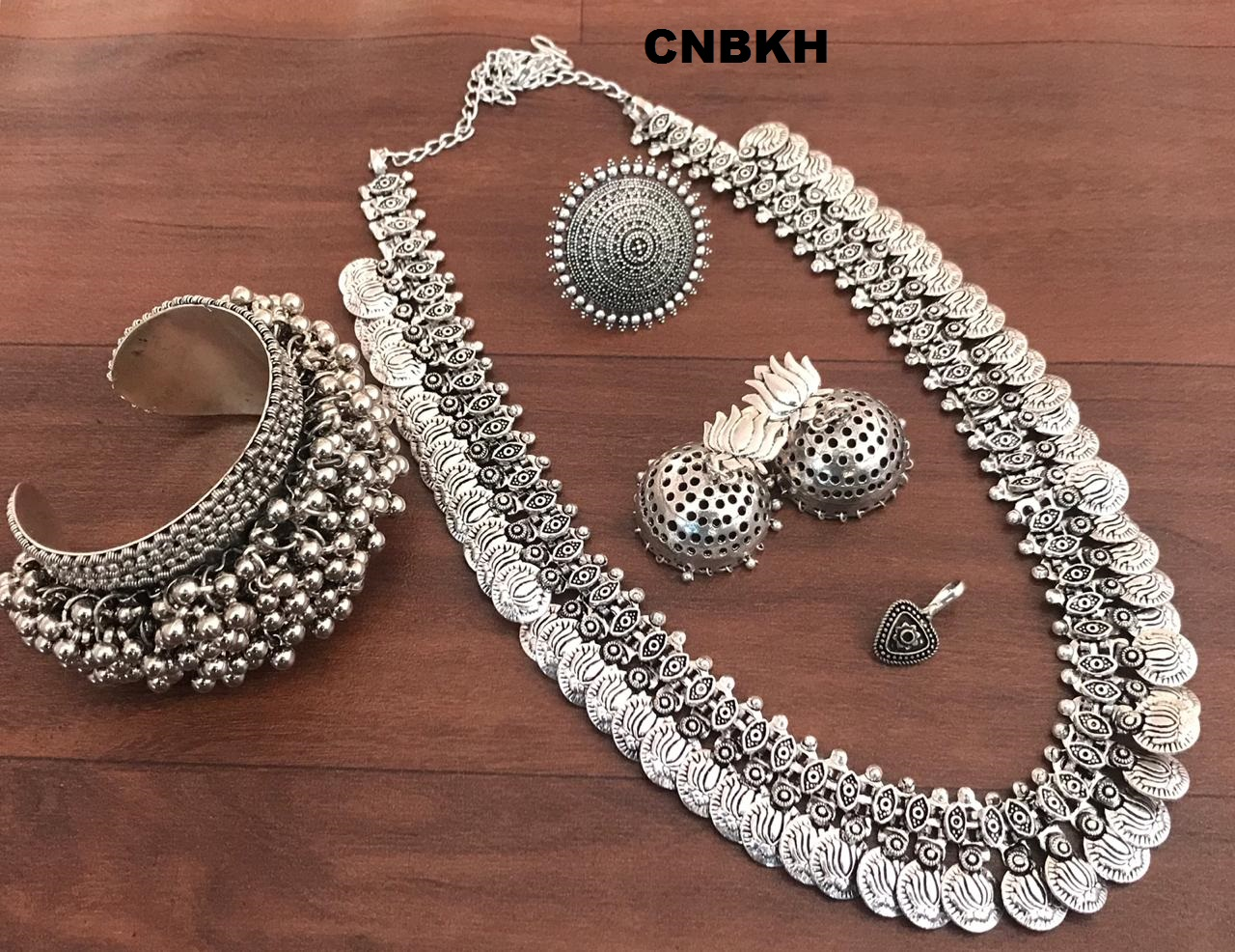 Indian Bollywood Silver Crystal Jewellery set Necklace Earring Tikka