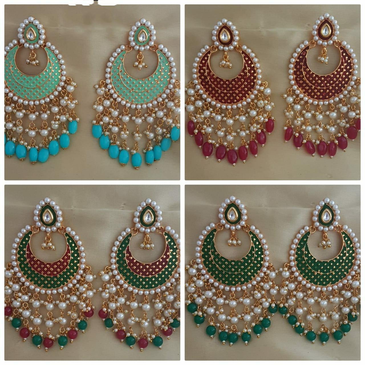ethnic earring,stone earring Indian earrings temple jewelry silver golden dual tone earring with pearl handmade kemp Long earrings