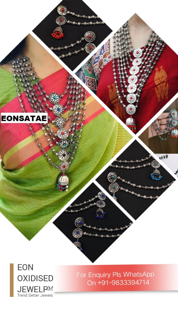 Indian handmade oxidized jewelry|german silver dholki beads necklace|multilayer necklace|eligent earrings|amrapali jewelry|bengali jewelry|